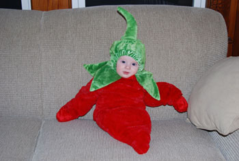Nathan, dressed as a chili pepper